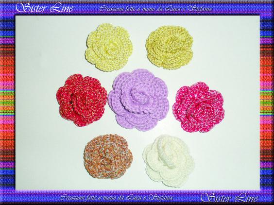 Rose in cotone fatte a mano con l'uncinetto. Roses cotton handmade