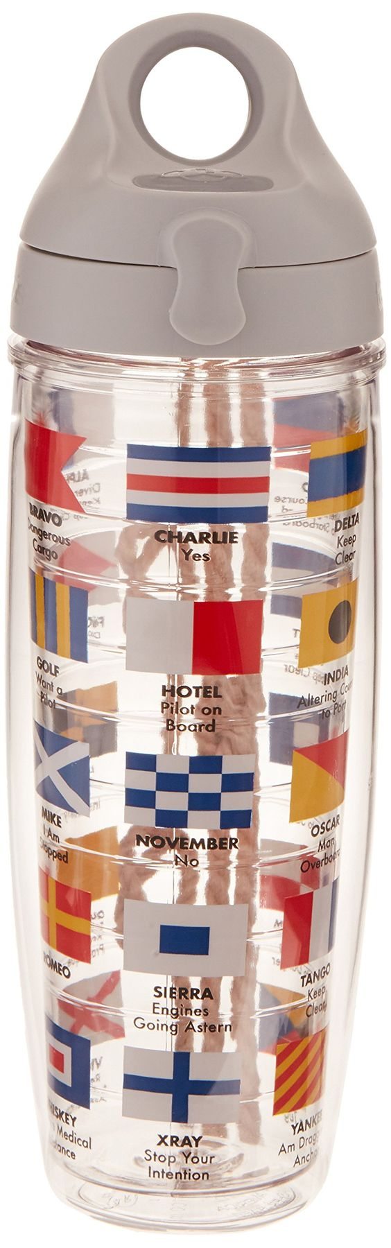 Tervis Water Bottle, Nautical Flags. Keeps hot drinks hot and cold drinks cold. Co-polyester BPA and Melamine free construction. Microwave, freezer & dishwasher safe. Unconditional Lifetime Guarantee. Made in the USA.