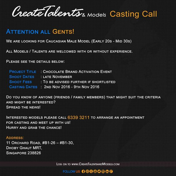 We're looking for Caucasian Male Model (Early 20s - Mid 30s)  Please see the details below: 	  Project Title: Chocolate Brand Activation Event Event Dates: Late November - December Shoot Fees: To be advised if further shortlisted Casting Dates: 2nd Nov 2016 - 9th Nov 2016 To be Model: enquiries@createtalentsandmodels.com Reach us now at 6339 3211  Website: http://createtalentsandmodels.com/   Facebook: https://www.facebook.com/CreateTalentsandModelsSingapore/