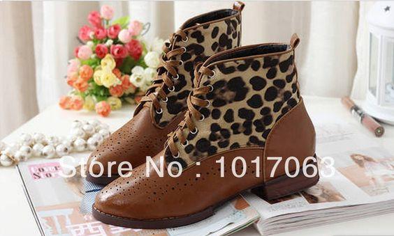 mode winter vrouwen casual schoenen luipaard print laarzen martin ronde neus lederen platte hak platform kant mocassin mocassin land
