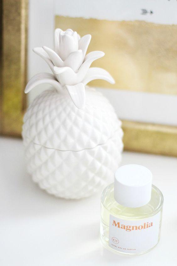 Pineapple Jar, White Pineapple Jar, Dresser Styling, Gold Frame