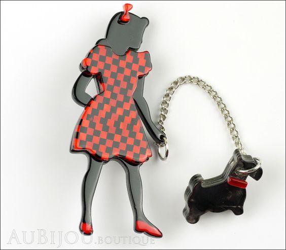 Erstwilder Pin Brooch Deco Girl Dog Walking Wonders Black Red