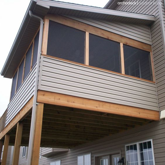 Porches st louis mo and roofing options on pinterest for Shed roof screened porch