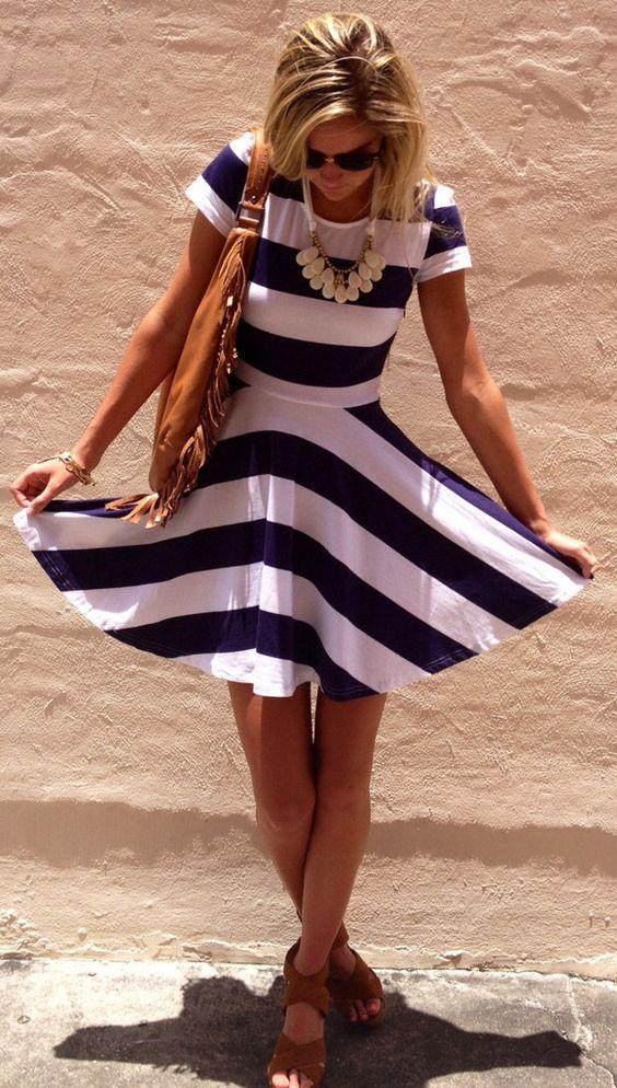 Summer chic w/nautical dress. Too cute!! ::M:::