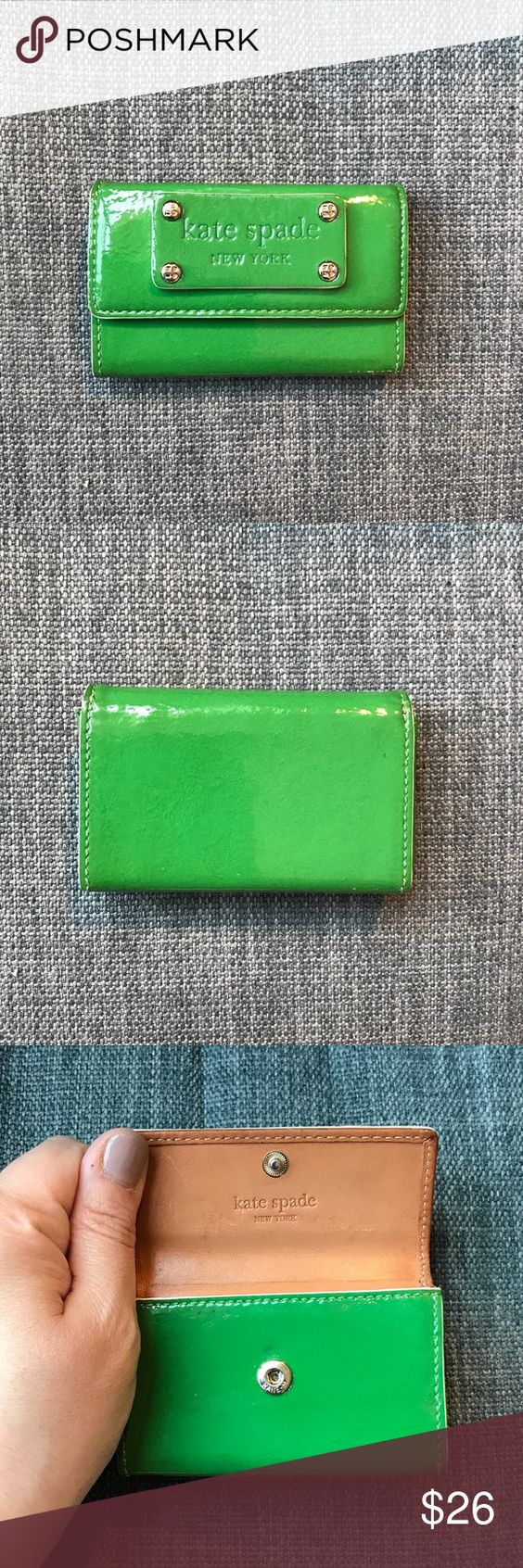 Price Drop Kate Spade Business Card Holder Green Leather Business Cards Leather Business Card Holder Business Card Holders