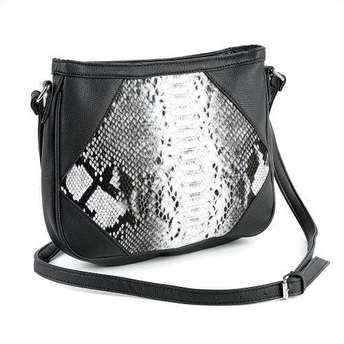 Small Snakeskin Shoulder Bag Black & White