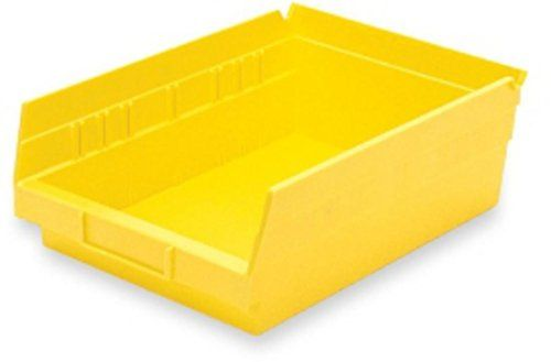 Akro Mils 30150yello Plastic Nesting Shelf Bin Box 12 X 8 X 4 Inch Yellow Case Of 12 Shelf Bins Yellow Case Shelves