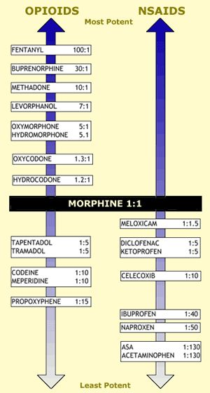 Opioid Strength Comparison Chart  Opioids    Medical