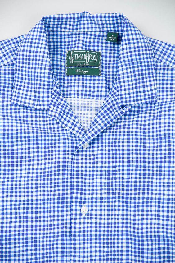 Blue Trippy Check Camp Shirt by Gitman Vintage – The Bureau Belfast