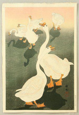 Ohara Koson: Six Geese and Shadows - Artelino