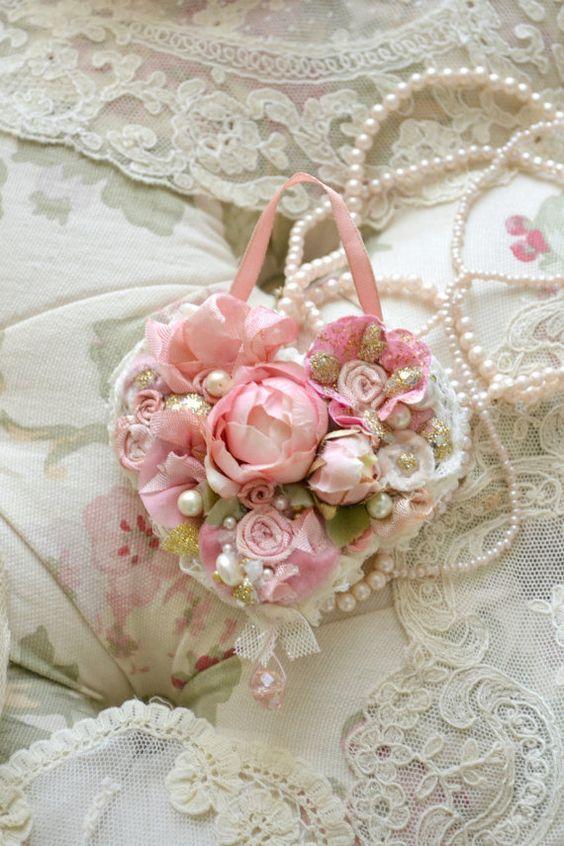 Beautiful Handmade Ribbon Work Heart by Jennelise by Jenneliserose