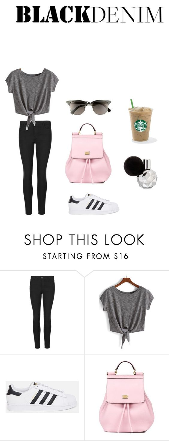 """""""Black Denim"""" by hannah1300 ❤ liked on Polyvore featuring Ray-Ban, Indigo Collection, adidas Originals, Dolce&Gabbana, casual, starbucks, adidas, comfy and blackdenim"""