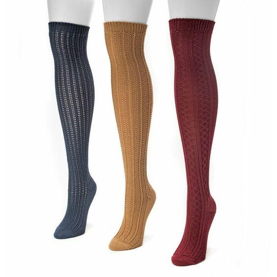 MUK LUKS 3-pk. Women's Ribbed Over-The-Knee Socks (£21) ❤ liked on Polyvore featuring intimates, hosiery, socks, multicolor, multi color socks, ribbed over the knee socks, colorful socks, over the knee hosiery and overknee socks