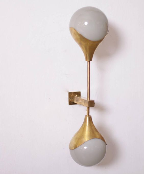Murano Glass and Brass Sconces or Wall Lamps Attributed to Stilnovo 2