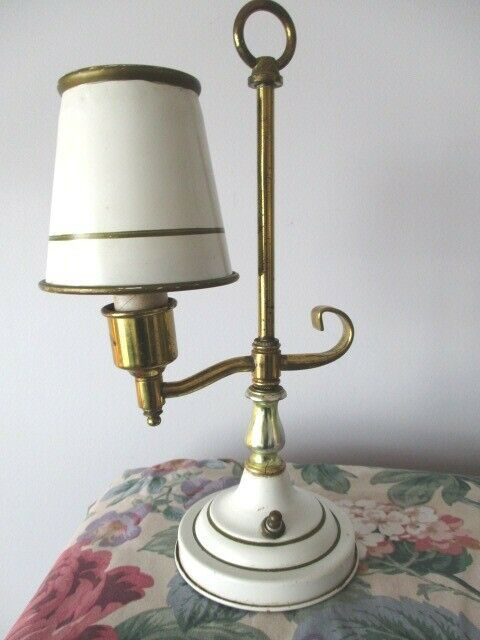 Small Antique Off White Gold Brass Tole Candlestick Desk Table Night Light Lamp 44 10 Gold Desk Lamps Ideas Of Gold In 2020 Night Light Lamp Lamp Gold Desk Lamps