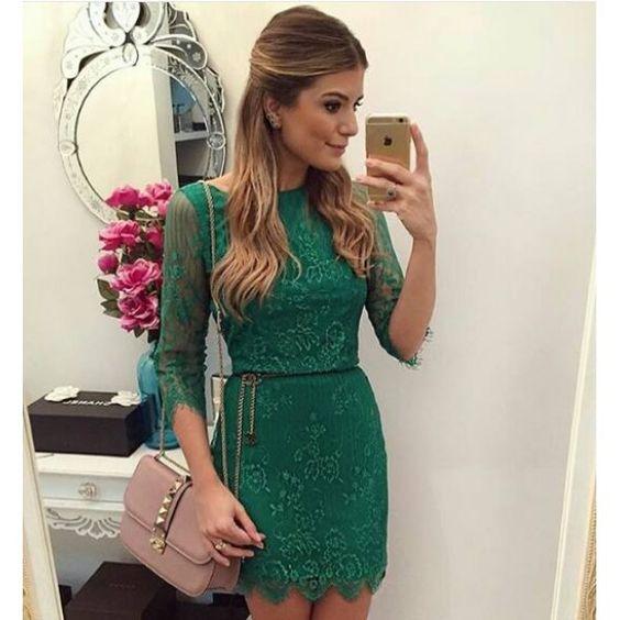 Vestido Festa Renda / Verde/ Ref 3619860