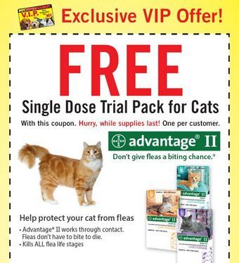 FREE Advantage II for Cats at Pet Supermarket - http://www.guide2free.com/coupons/free-k9-advantix-ii-or-advantage-ii-for-cats-and-dogs-at-pet-supermarket/
