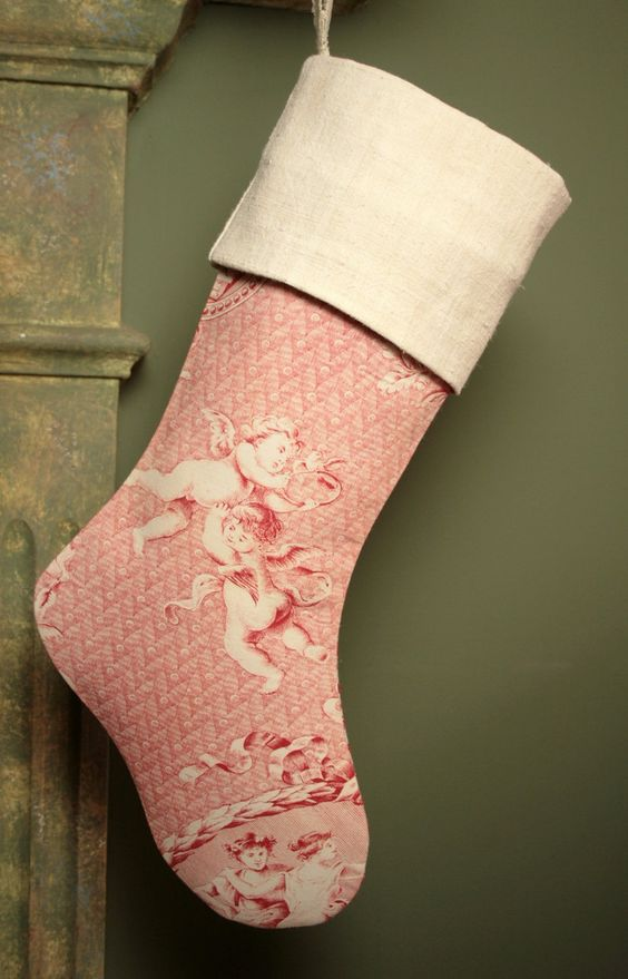 burlap and toile stocking