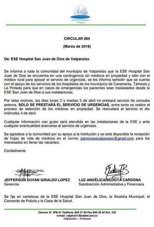 Hospital San Juan de Dios de Valparaíso Antioquia requiere personal ...