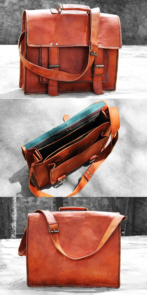 16 Inches Brown Leather Cross-body Messenger Bag/ Leather Laptop Bag for Men/women. Spacious it is!! Stylish it is!! Trendy it is!!