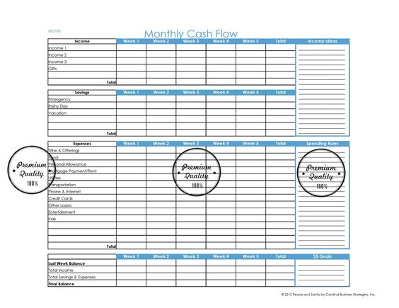 Organize your home - get a binder and add the blue and white Monthly Budget Planner/Cash Flow - Printable PDF. $4.50, via Etsy.