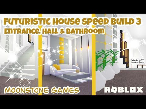 Adopt Me Futuristic House Speed Build Part 3 Entrance Hall Bathroom Aesthetic Home Youtube Futuristic Home Hall Bathroom Cute House