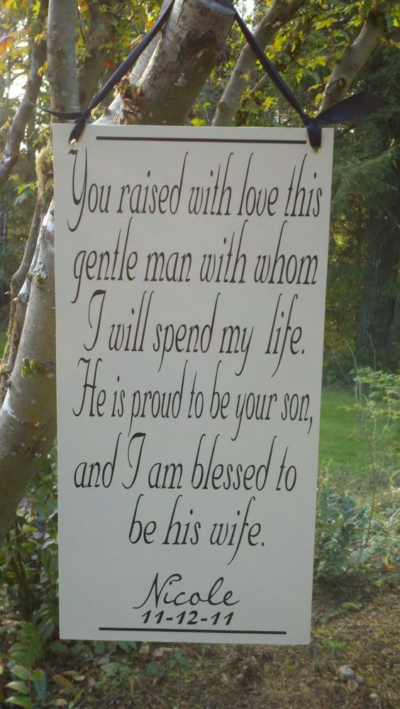 Mother of the Groom Gift, on ivory board. This is sure to bring happy tears, Wedding Sign. $42.95, via Etsy.