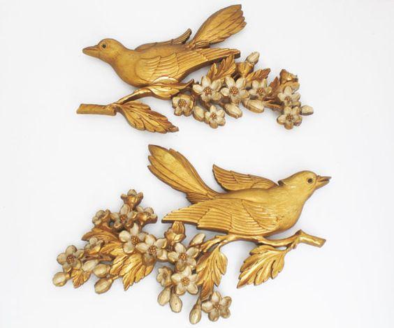 Vintage Gold Bird Wall Art Mid Century Gold By Thedustyoldshack 16 00 Bird Wall Art Branch Art Art