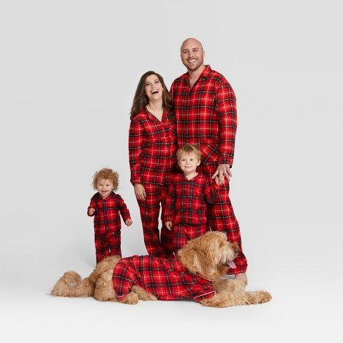 Pet Plaid Holiday Notch Collar Pajamas Wondershop Red Target Matching Family Christmas Pajamas Family Christmas Pajamas Family Christmas