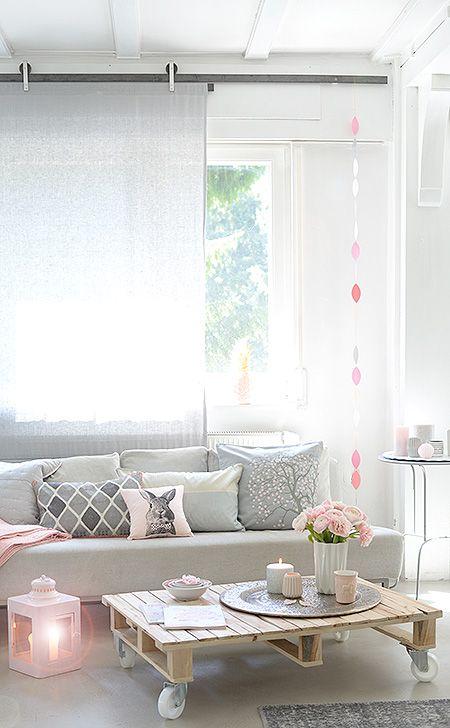 wohnzimmer in rosa und grau wunderschön-gemacht: frühlingsrosa-grau