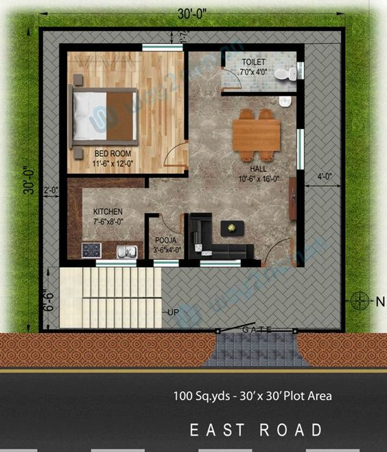100 30 39 x 30 39 east face house plan for more for 100 sq ft room size