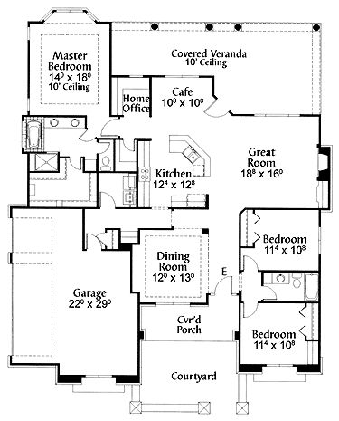 Floor plans aflfpw24058 1 story mediterranean home with for Floorplans com