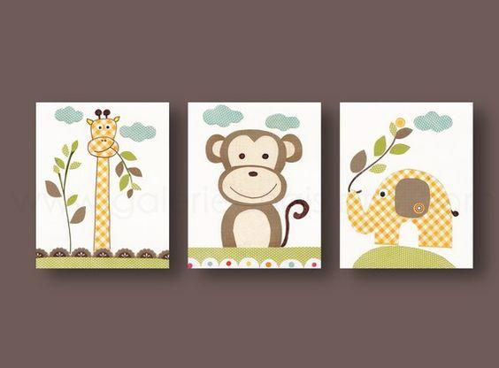 Lot de 3 illustrations pour chambre d'enfant et bebe, garcon, jungle