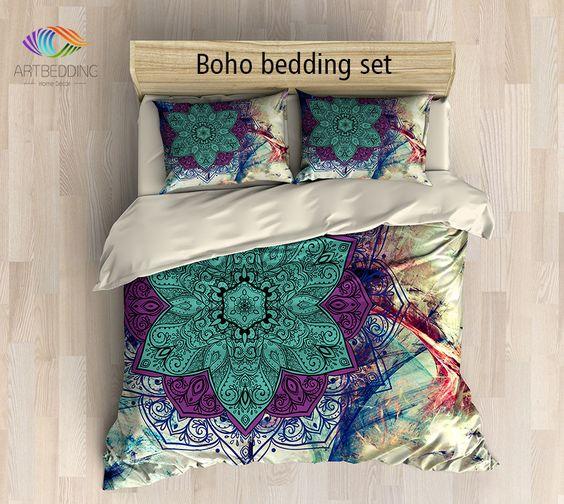 Bohemian bedding, Mandala duvet cover set, Sacred balance lotus mandala bedding, Boho chic bedroom interior