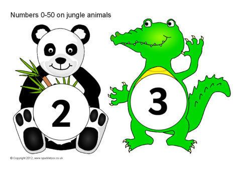 Numbers 0 50 On Jungle Animals Sb601 Sparklebox Jungle Animals Cartoon Jungle Animals Jungle