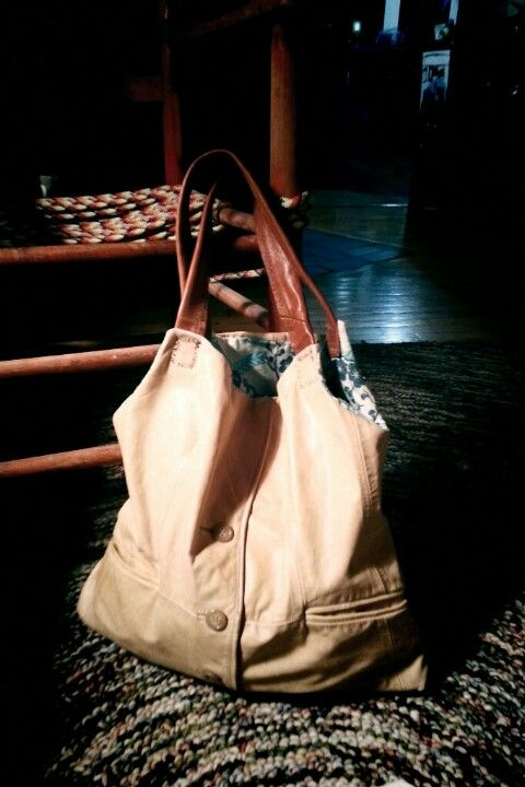 Bag made from leather jacket