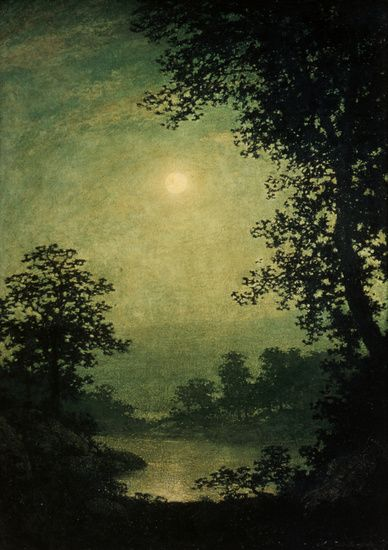 Moonlight sonata by Ralph Albert Blakelock, created between 1889 and 1892. It is created using oil paint onto canvas, it has now been sold by Vose Galleries to the MFA for $4,500. I like the use of the dark against the light in this image and how the sky is a green colour instead of a typical blue colour.