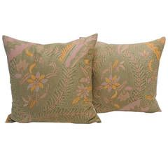 Pair of Orange and Pink Batik Pillows.