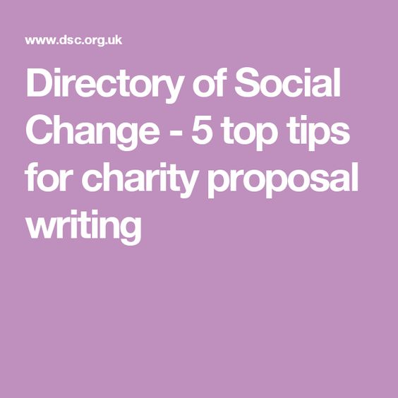 Directory of Social Change - 5 top tips for charity proposal - charity proposal