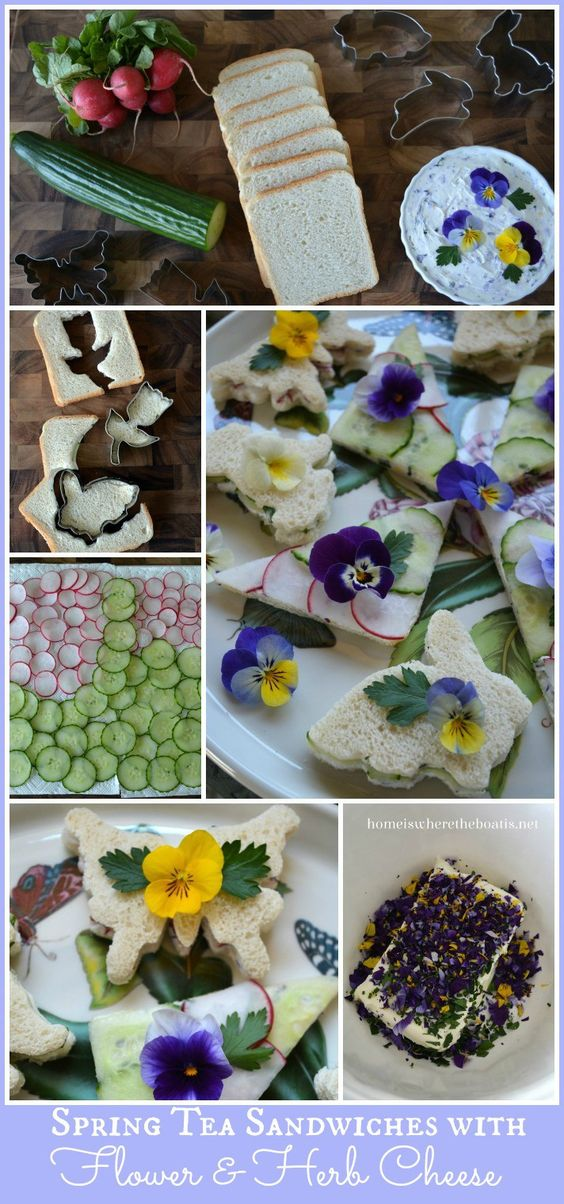 Spring Tea Sandwiches with Flower & Herb Cheese Recipe | homeiswheretheboatis.net #edibleflowers #tea: