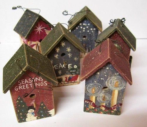 Birdhouse Christmas Tree Ornaments : Christmas tree ornaments birdhouses and trees