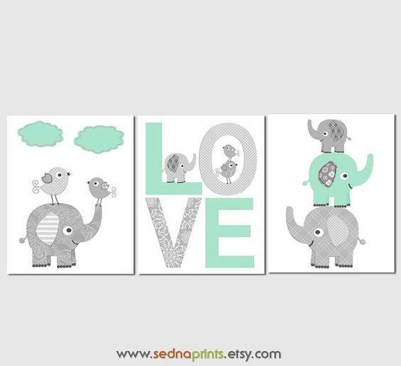 Menthe et pépinière éléphant gris Art Print Set par SednaPrints