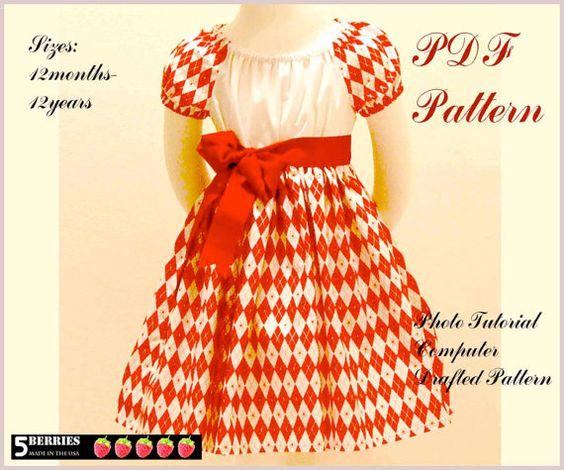 easy girls dress patterns 12m-12y @etsy