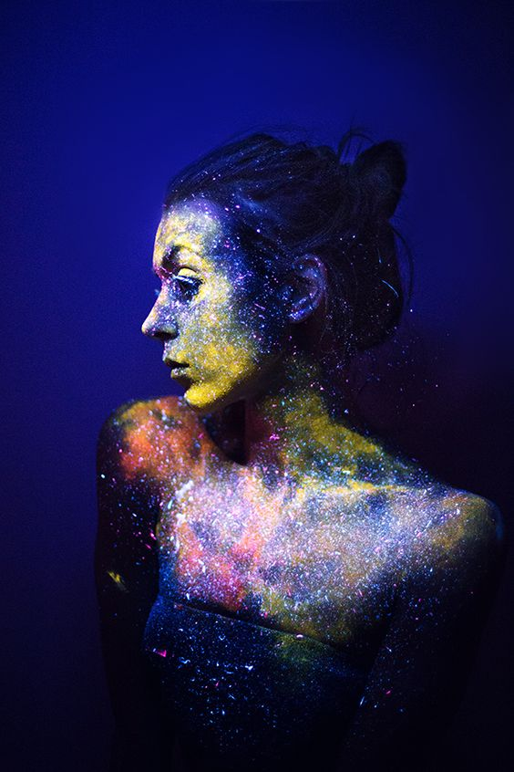 Body paint inspiration for a festival or cosmic fancy dress party! Daria Khoroshavina - we are all made of stars...
