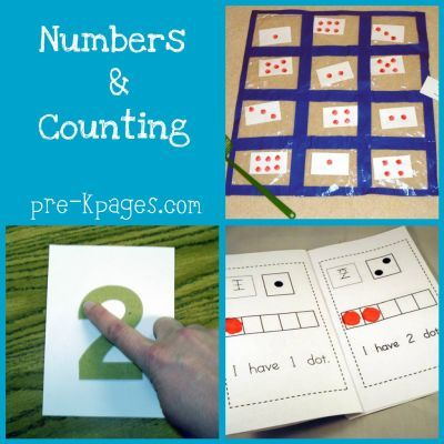 Some center ideas for numbers and counting via www.pre-kpages.com