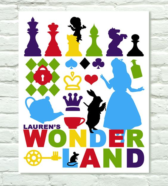 Alice in Wonderland Typography Collage by PurpleCowPosters