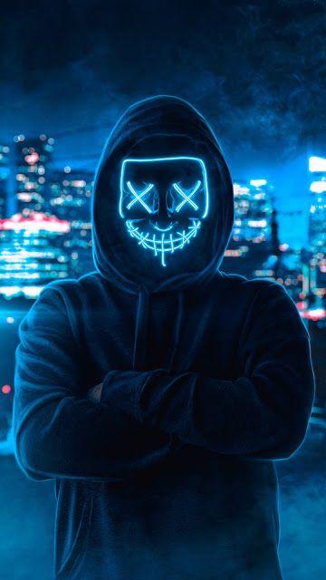 Hoodie Guy Mask Man Man Wallpaper Joker Iphone Wallpaper Neon Wallpaper