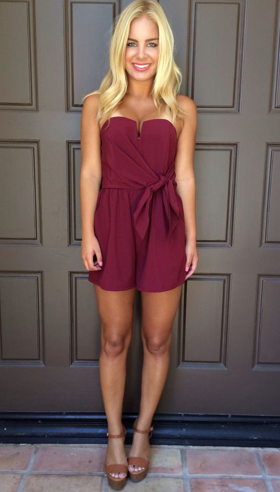 Wired In Strapless Romper - BURGUNDY | Adorable Rompers ... - photo#21
