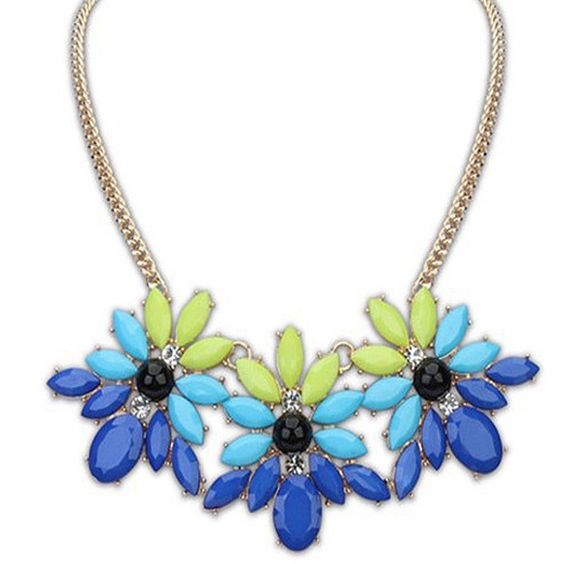 """Blue & Green Floral Statement Bib Necklace! NWOT, Hot Flower Statement Bib Necklace! Beautiful shades of Blue & Green Rhinestones with a black stone in the middle along with clear CZ's-All make this an adorable Fashion Piece! Length is 8"""", 1.5"""" adjustable extender, Lobster clasp closure! Please ask any questions!Price Firm unless bundled! Trades or PP Jewelry Necklaces"""