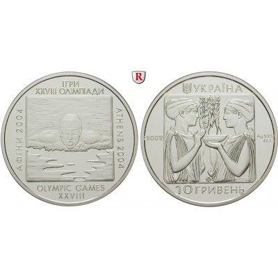 Ukraine, 10 Hryvnias 2002, PP: 10 Hryvnias 2002. Olympiade Athen 2004, Schwimmen. Polierte Platte 35,00€ #coins